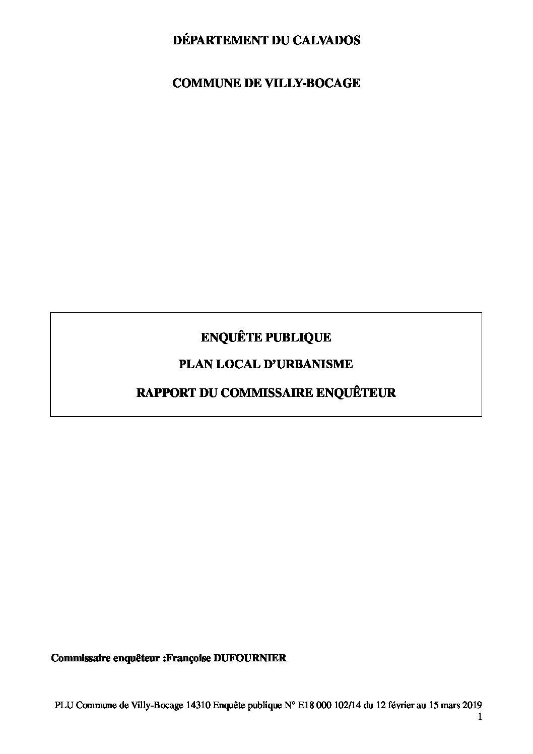 Villy-Bocage – PLU commune de Villy-BOCAGE rapport commissaire enquêteur