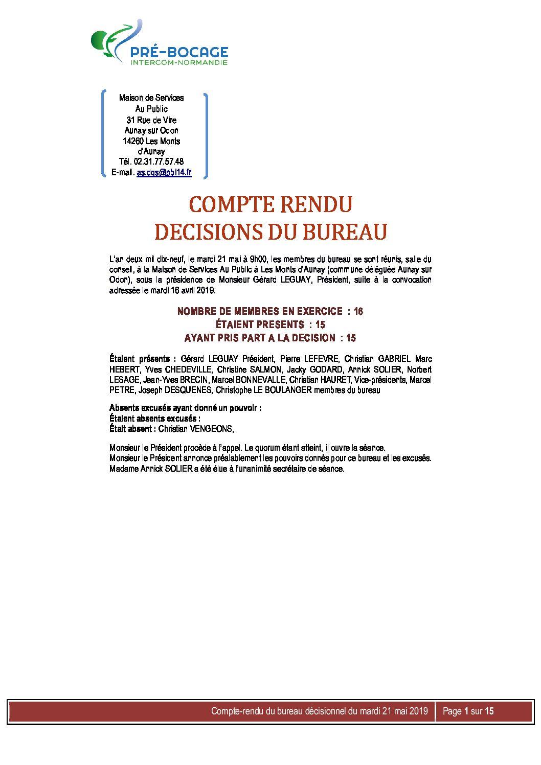 CR Bureau du 21 mai 2019