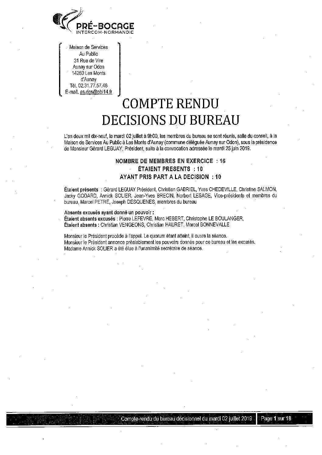 CR Bureau du 2 juillet 2019
