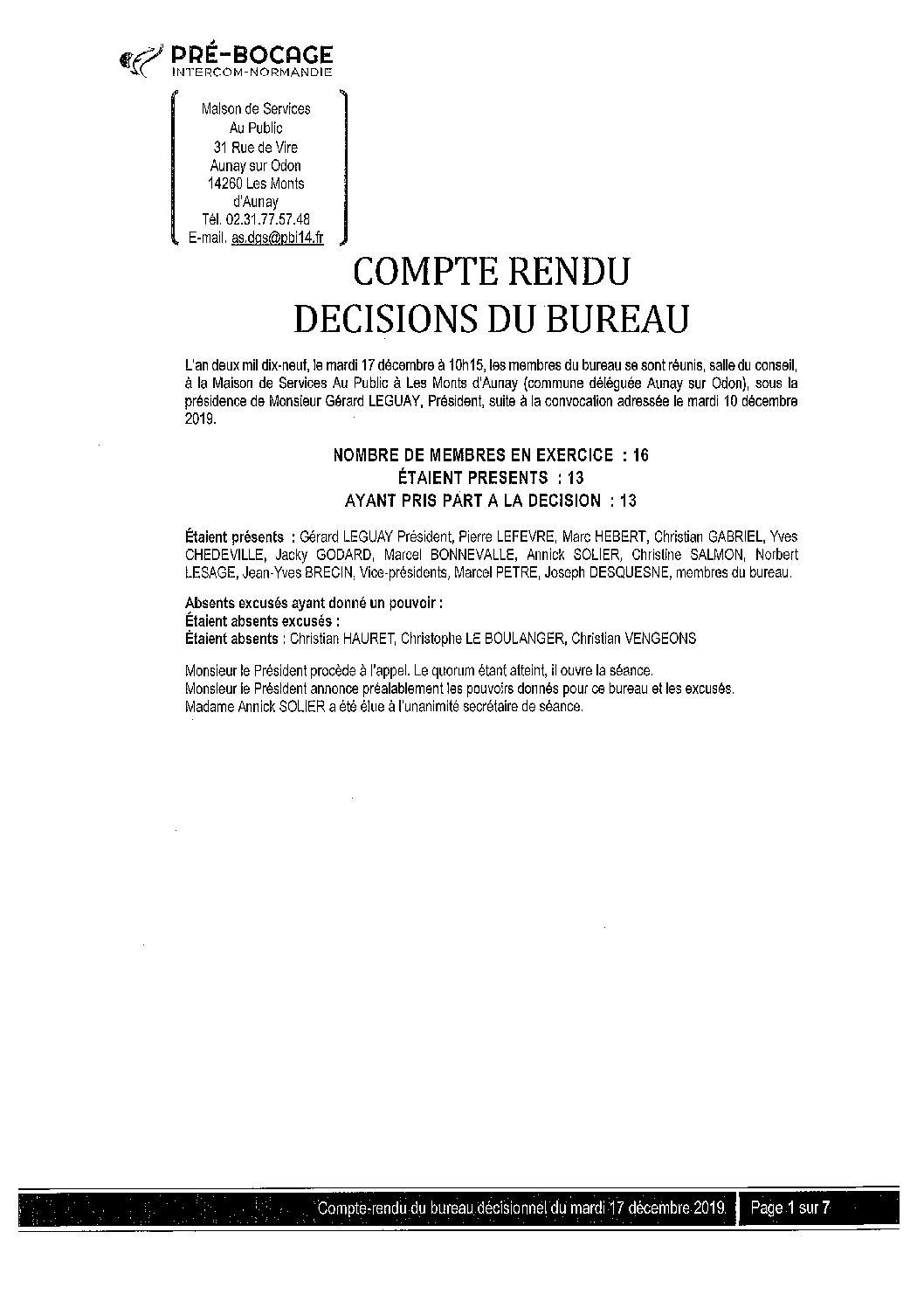 CR Bureau du 17 décembre 2019