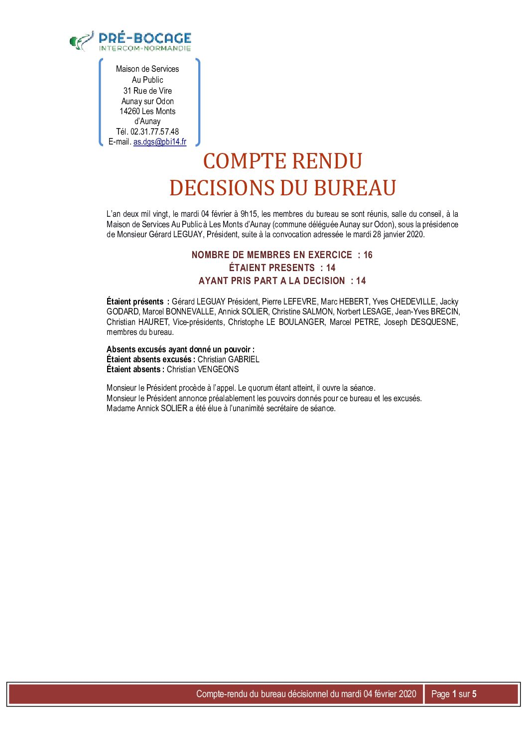 CR Bureau du 04 février 2020