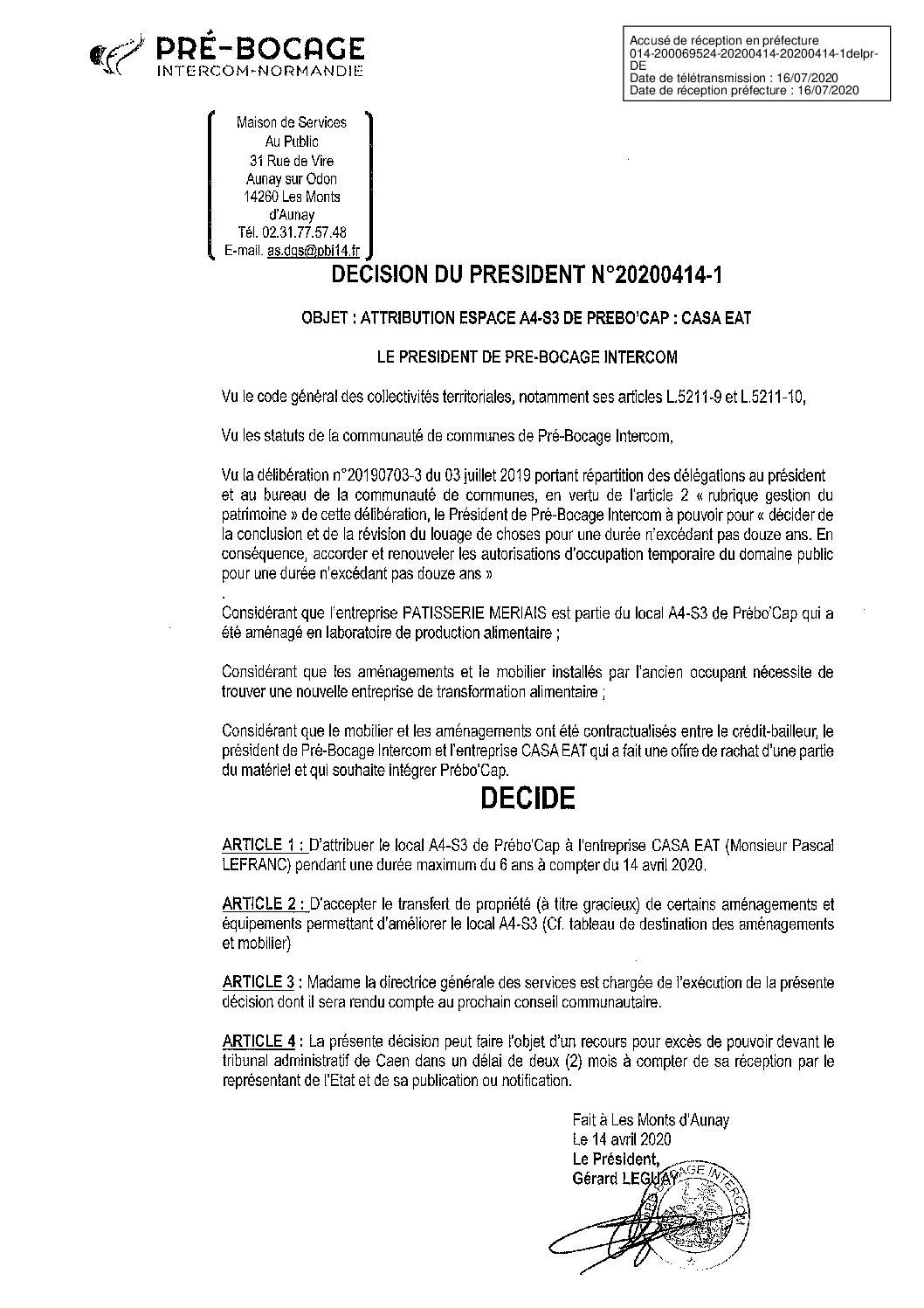Décision déléguée du 14 avril 2020