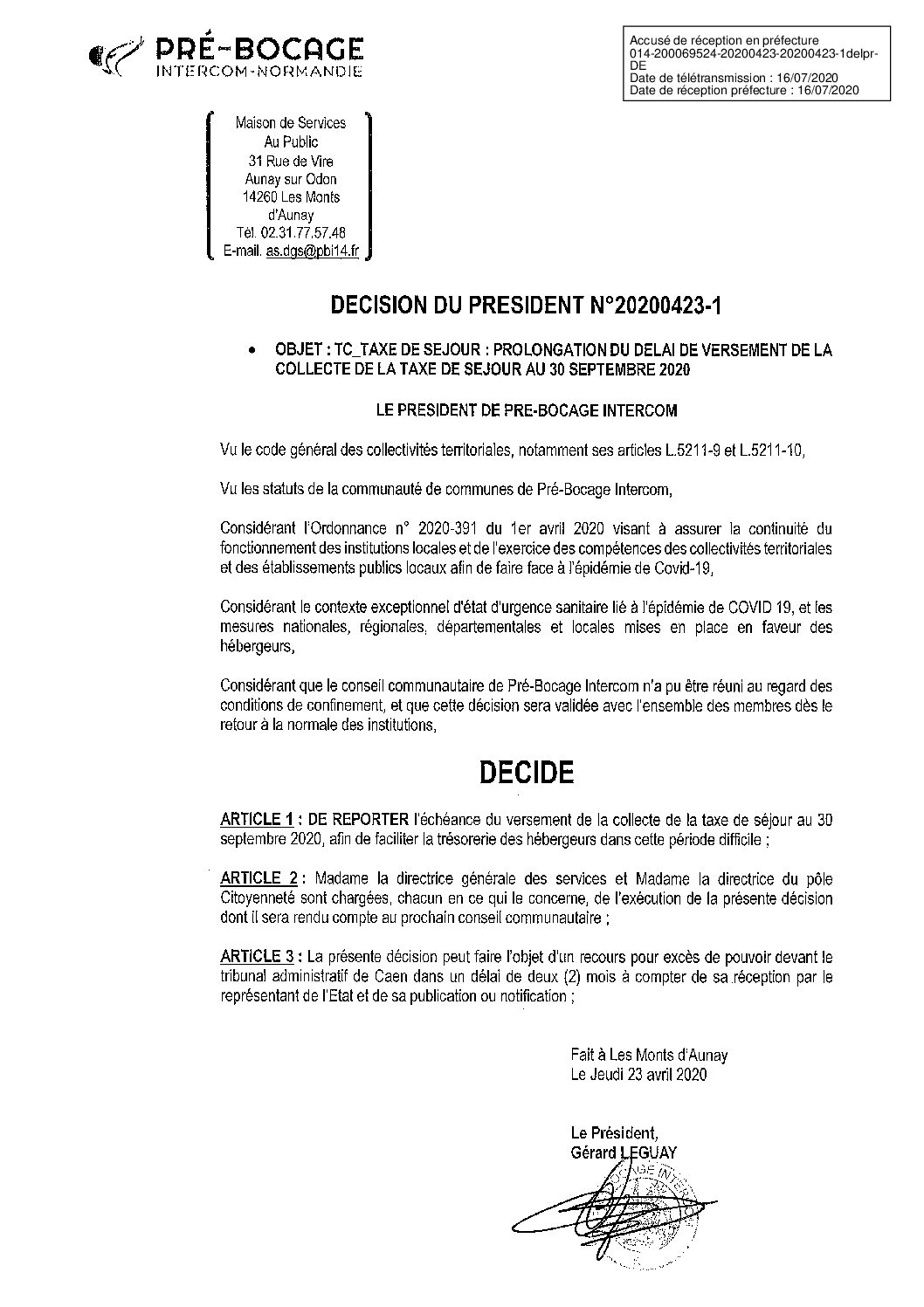Décision déléguée du 23 avril 2020