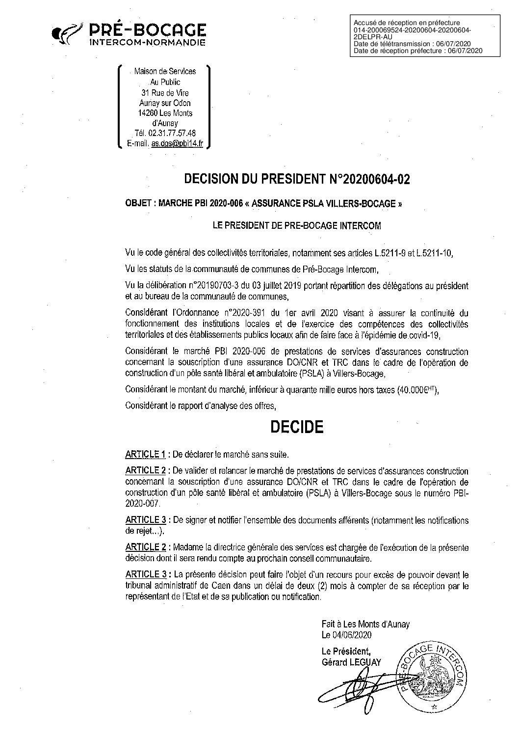Décision déléguée du 04 juin 2020