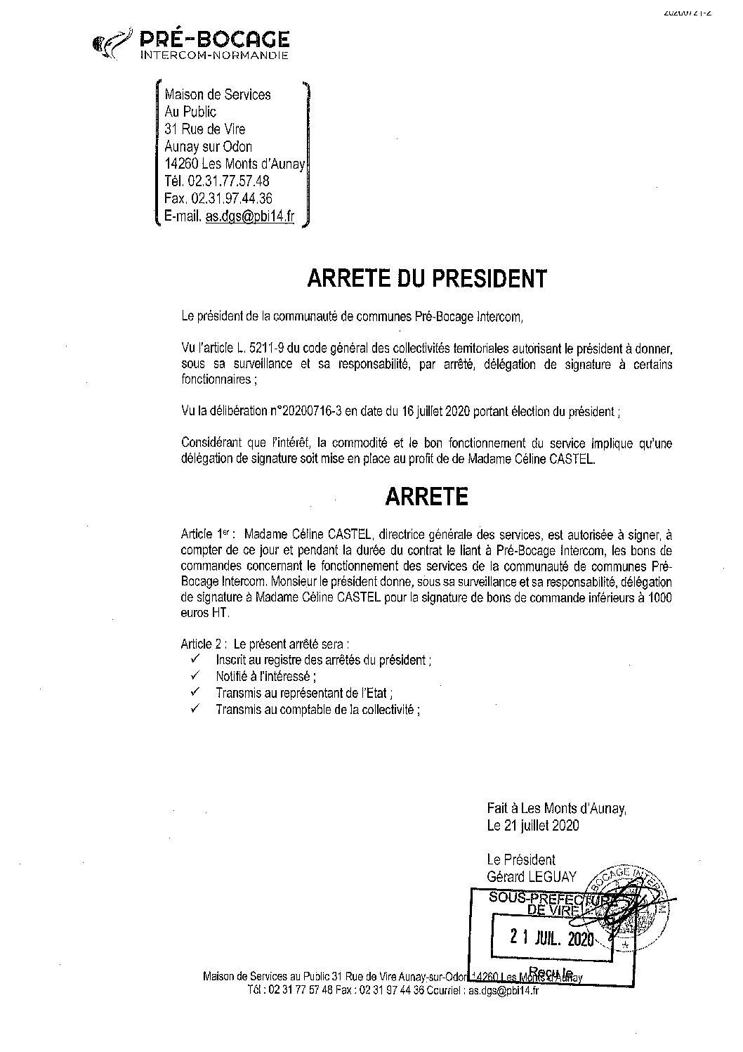 Décision déléguée du 21 juillet 2020
