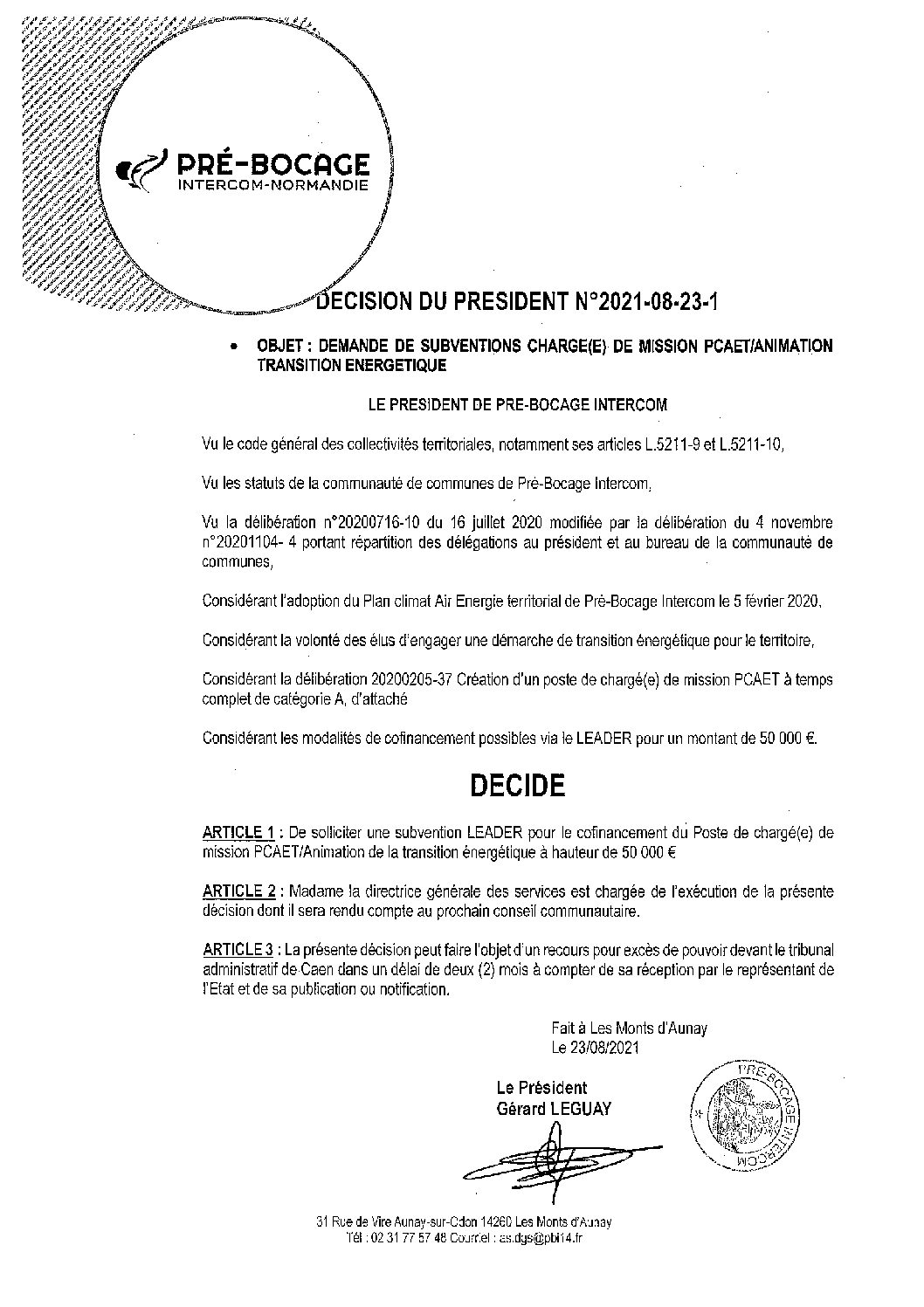 Décision déléguée du 23 août 2021