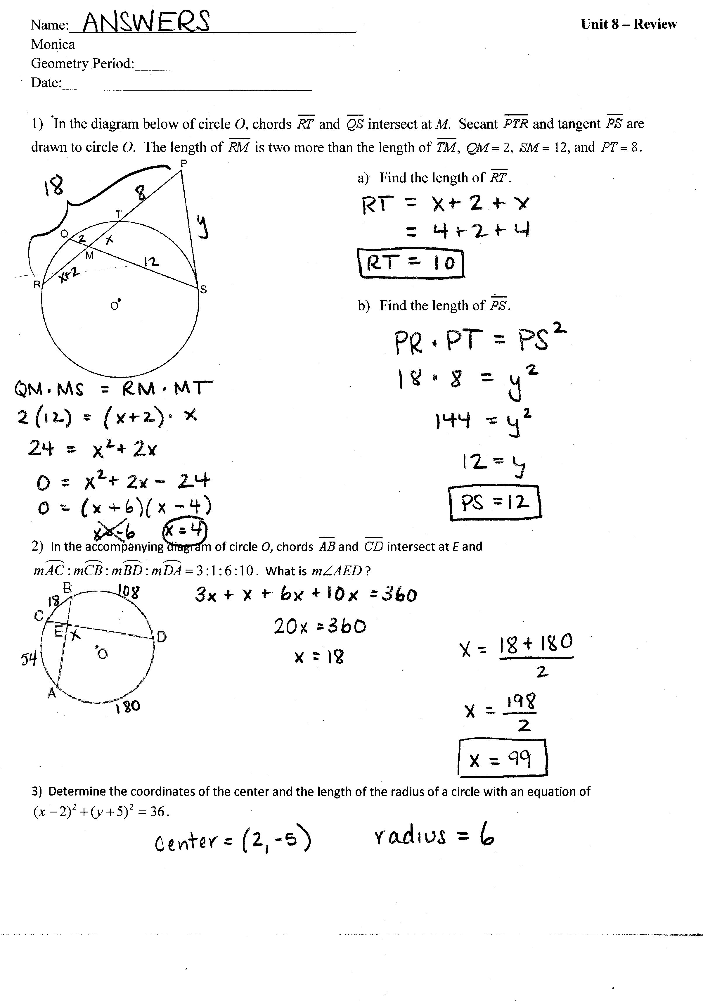 31 Unit 6 Worksheet 4 Using The Unit Circle Answer Key