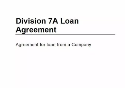 Division 7A Loan Agreement