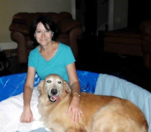 Marcie with a golden retriever in labor
