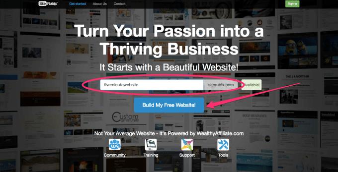 create a free website with siterubix step 1