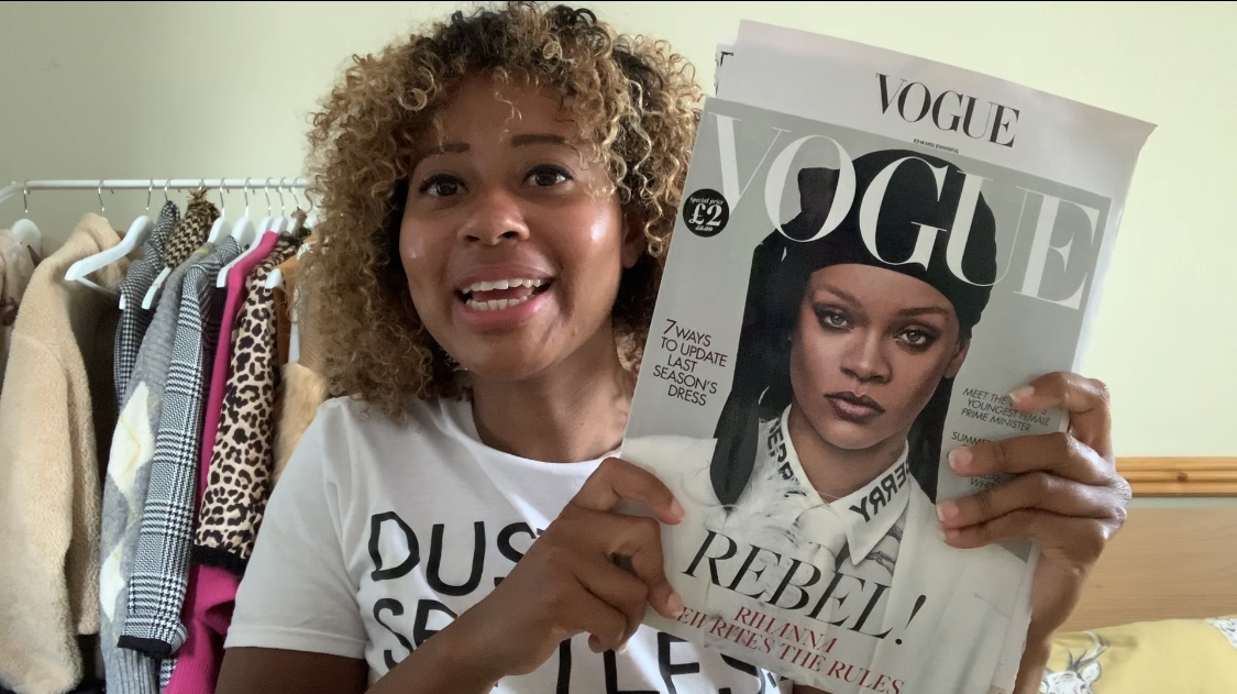 image of Kayleigh, founder of bindlondon with copy of Vogue magazine