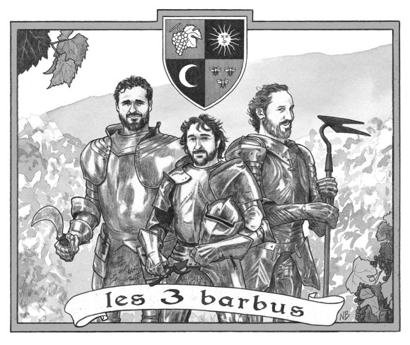 Label for Les 3 Barbus (2014) - Black & white version