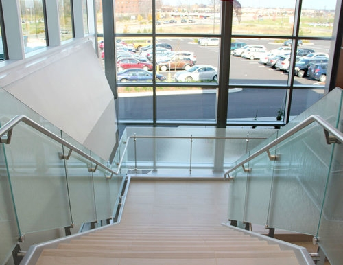 Glass Balustrade Glass Staircase Stainless Steel Handrail Railing   Glass And Chrome Banisters   Designer   Wooden Glass   Frosted Glass   Oak   Contemporary