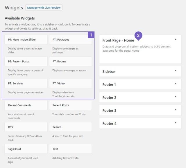 Build in widgets