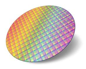 a close up of a circular silicon wafer