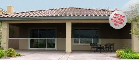 Solar sun screens add privacy, cuts down glare and heat and also gives you gold ball protection too!