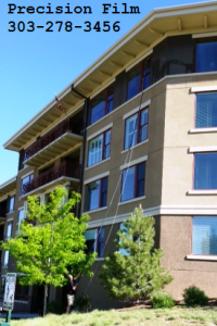 Residential Window Cleaning Denver. Cleaning the windows The Vi in Denver Colorado.
