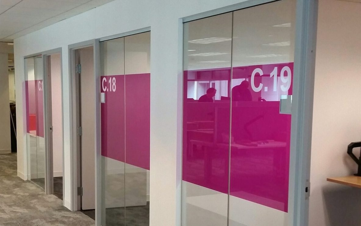 Interesting Decorative Glass Films Job Adds New Flair to Office Space