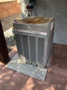 HVAC maintenance on old air conditioner