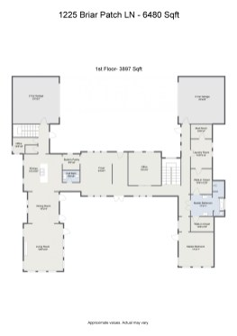 Floorplan letterhead - 1225 Briar Patch LN - 6480 Sqft - 1st Floor- 3897 Sqft - 2D Floor Plan