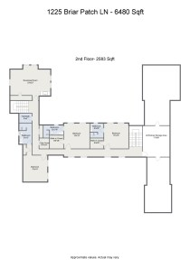 Floorplan letterhead - 1225 Briar Patch LN - 6480 Sqft - 2nd Floor- 2583 Sqft - 2D Floor Plan