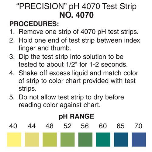 pH 4-7 test strips, pH 4-7 color chart, pH test strips