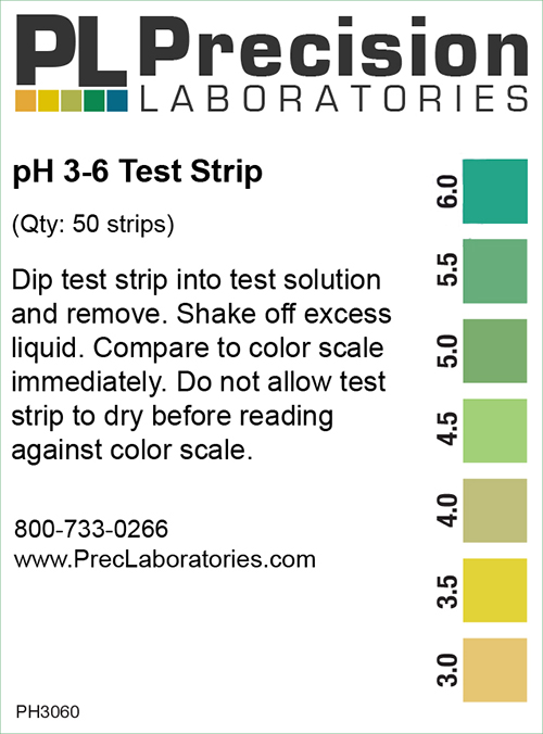 pH Test Strips 3-6, pH 3-6 Test Strip