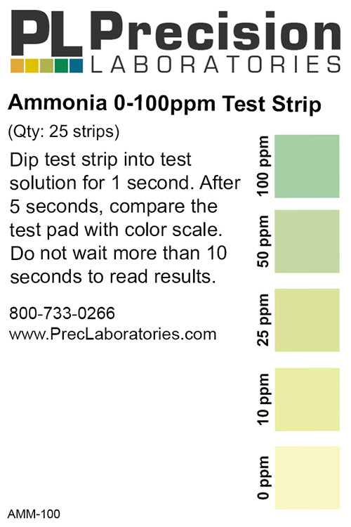 low level ammonia test strip, 100ppm, ammonia, ammonia test strip