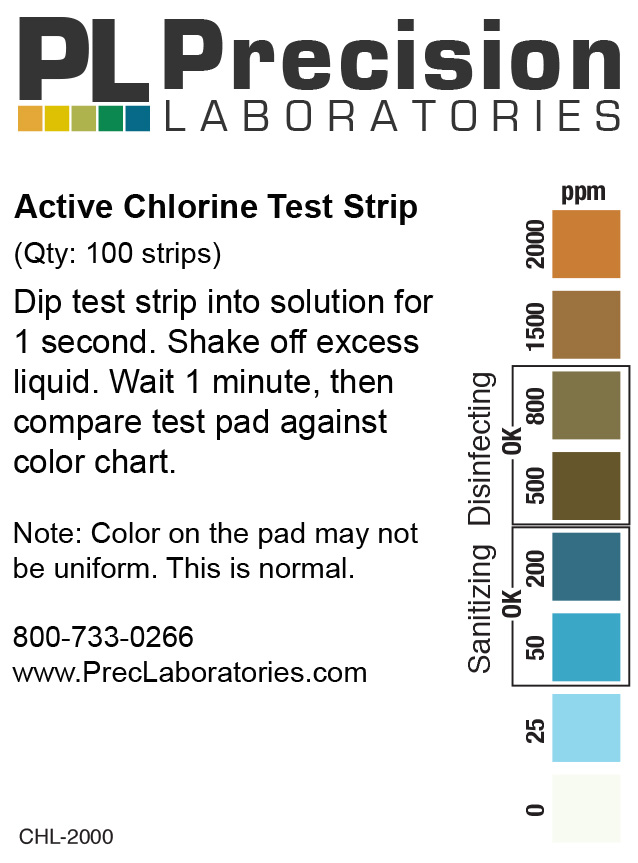 active chlorine test strip, 2000ppm