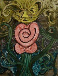 """Somber Flower: Love Internal"", 2008, Acrylic on Hot Press Watercolor paper, 18"" x 24"""