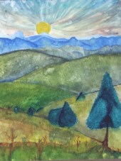 """""""Mount Cahill"""", 2010, Acrylic on Hot Press Watercolor Paper"""