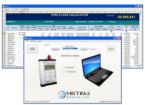 Ilustración 21. Software propietario para estimación de fugas y pérdidas económicas