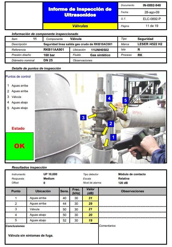 Ilustración 26. Informe de válvula sin fugas