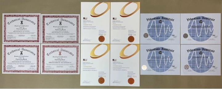 Photograph 1. Full ISO 18436-2 certification from the three providers