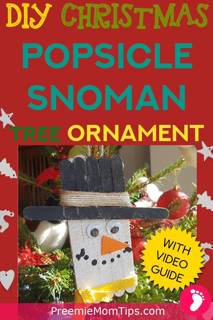 Have a crafty Christmas with this DIY Popsicle snowman ornament for your Christmas tree! It's the perfect craft for moms to make with their children!