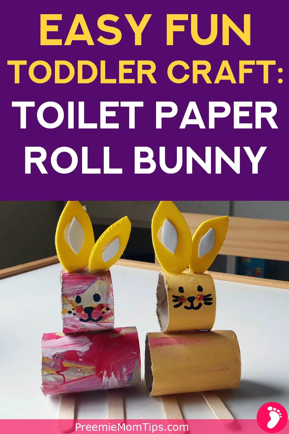 Got 5 minutes, a spare toilet paper roll and a bored toddler? This bunny toilet paper roll craft is perfect to keep your little one inspired!
