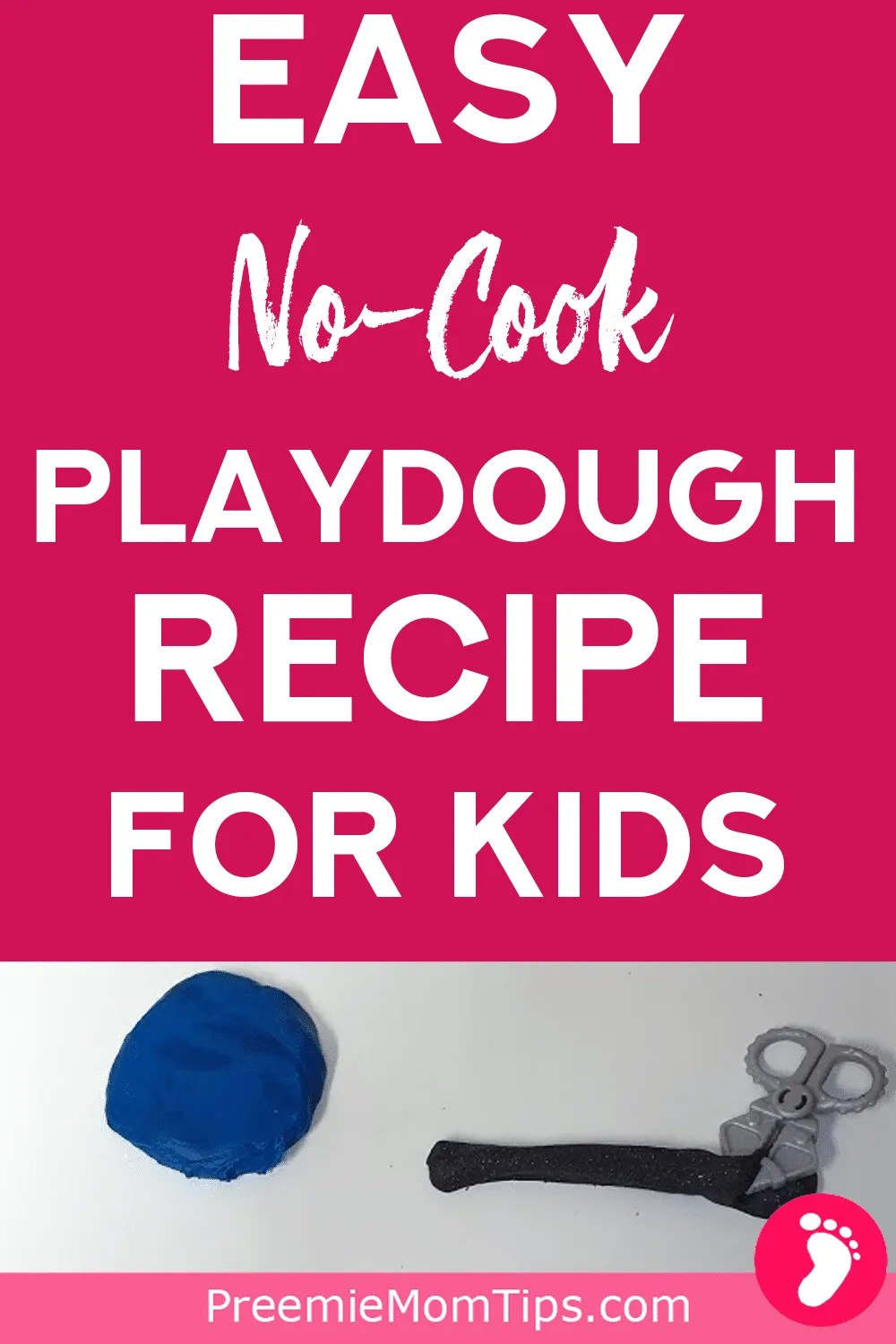 Easy playdough recipe for kids! You won't need to cook, and there's a huge no-mess solution for mixing the play dough with the food coloring! Get the most of this indoor activity that will also help your children develop fine motor skills!
