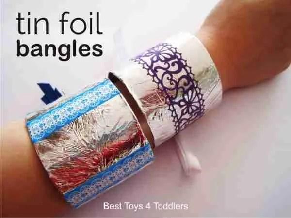 Best toilet paper roll rafts for kids: tin foil bangles