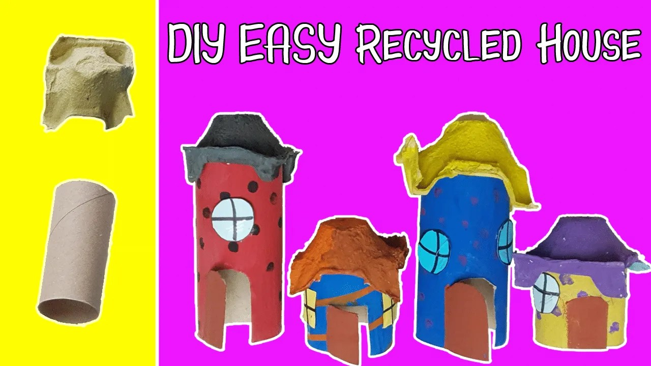 DIY Easy Toilet paper roll craft - Let's make a house with toilet paper roll and egg carton!