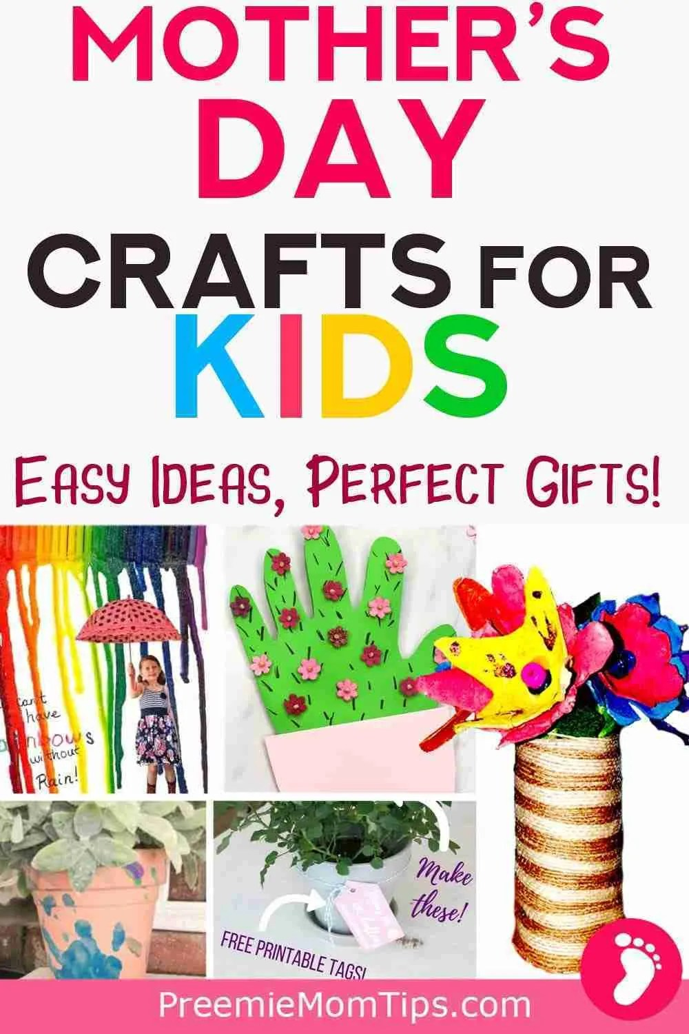 This list of Mother's Day crafts for kids  is easy to make, and you'll get beautiful keepsakes made by your own child!