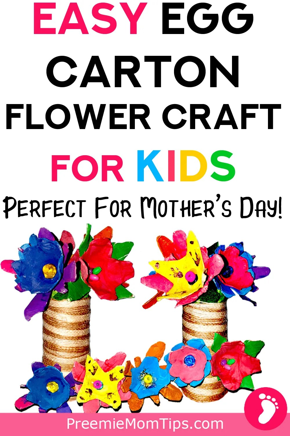 Easy Egg Carton Flower Craft for Kids