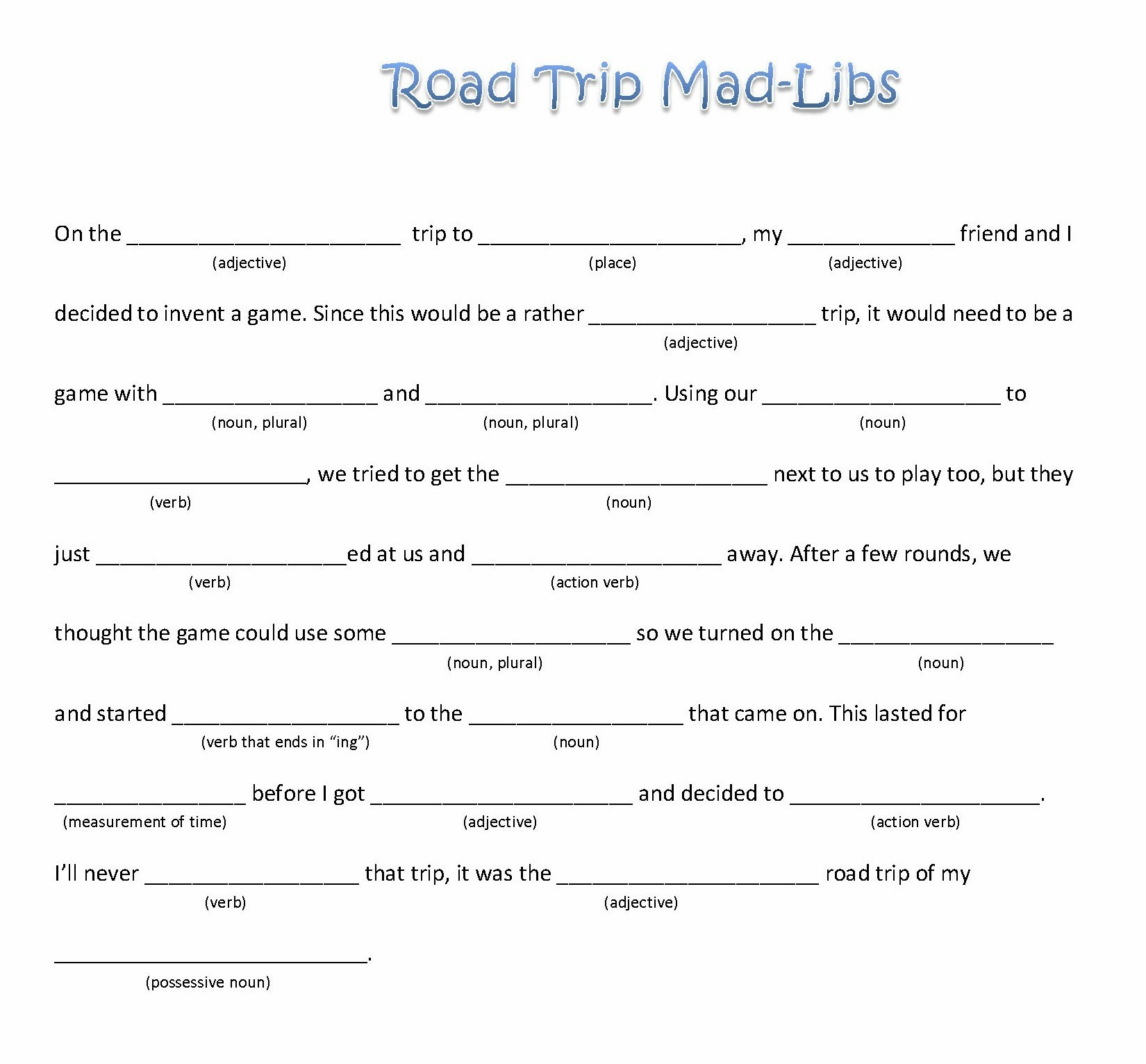 Mad Libs Fill In The Blanks Printables