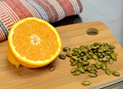 orange, vitamin C, pumpkin seeds, iron