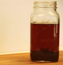 Steeped tea in mason jar
