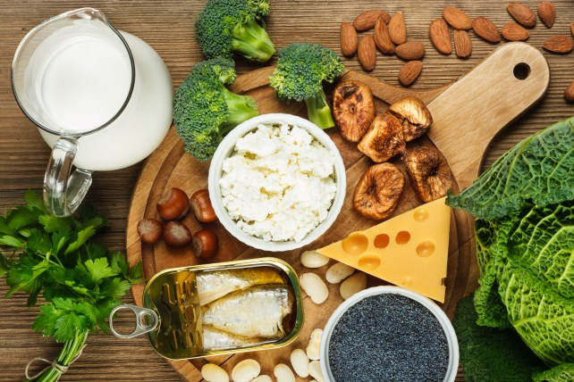 Foods rich in calcium such as sardines, bean, dried figs, almonds, cottage cheese, hazelnuts, parsley leaves, blue poppy seed, broccoli, italian cabbage, cheese, milk