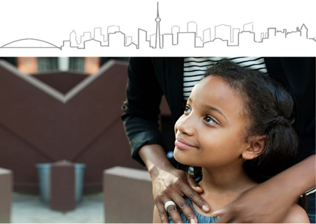 Child looking up into sky with parent hands on child's shoulder. Toronto skyline lineart on top of image
