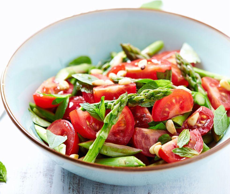 Asparagus salad in white bowl