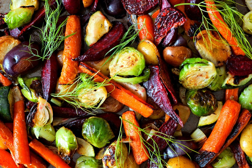 Colourful roasted vegetables