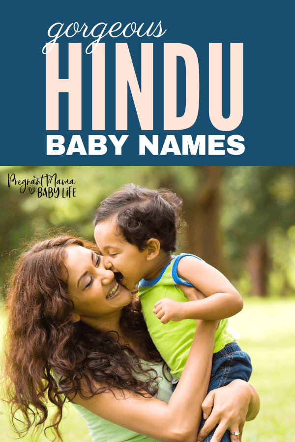 "hindu woman with baby and text overlay reading ""gorgeous hindu baby names"""