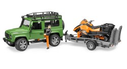 Land Rover Defender Station Wagon mit Anhänger, Snowmobil, Fahrer...